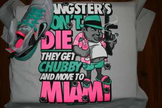 GANSTERS T SHIRT FOR NIKE LEBRON 9 ELITE MIAMI VICE SOUTH BEACH S 3X