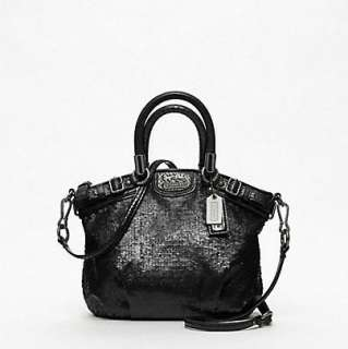 358 COACH MADISON SEQUINS MINI SOPHIA SATCHEL BAG TOTE BLACK RARE NEW