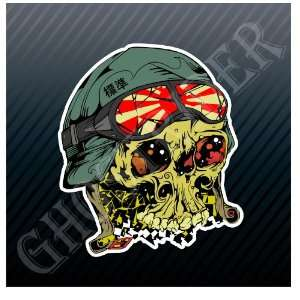 Japan Aviator Skull Kamikaze Pilot Car Trucks Sticker