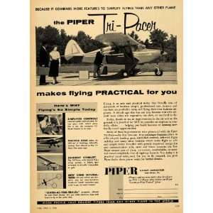 1956 Ad Piper Aircraft Corp. Tri Pacer Private Plane   Original Print