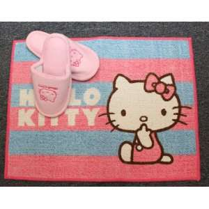 Official Hello Kitty Slippers & Floor Mat By Sanrio   Pink