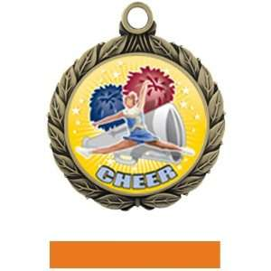 Cheer HD Insert Medal M 8501 GOLD MEDAL / ORANGE RIBBON 2.75 HD INSERT