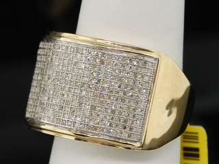 MENS YELLOW GOLD .89C PAVE DIAMOND BIG FACE PINKY RING