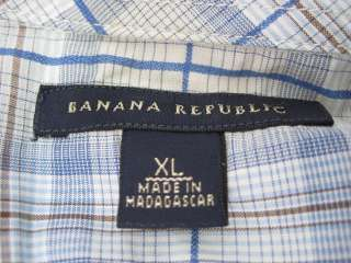 LOT 2 BANANA REPUBLIC Mens Snap Button Down Shirts SzXL