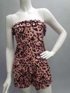 New PINK Leopard Cheetah Animal Print Tiered Ruffles Shorts Jumper