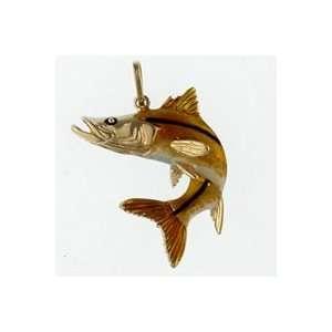 Reyes del Mar 14K Gold Snook Curl Enamel Nautical Pendant