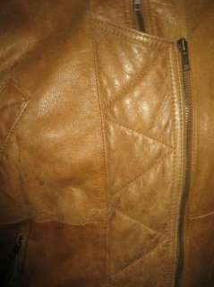 Sz S Mens WINLIT Leather Jacket Vintage Motorcycle Type Solid Fawn