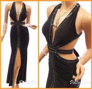 Black Padded Front slit Hem Evening Long Maxi Dress S M