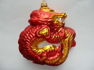 CHINESE DRAGON BLOWN GLASS CHRISTMAS TREE ORNAMENT