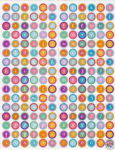 MULTI COLOR Circle Alphabet & Numbers A/F Stickers #2
