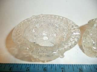 cut glass ashtray and matchstick holder pitcher cup vintage daisy