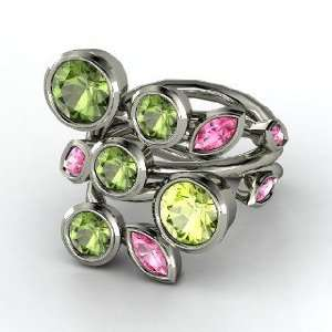 Single Finger Vine Ring, Round Peridot Sterling Silver Ring with Pink
