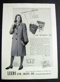 1943 Vintage LEEDS Coats College Girl Fashion 40s Ad