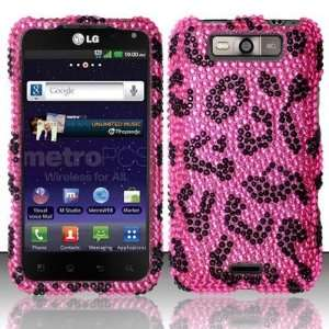PINK LEOPARD Hard Plastic Bling Rhinestone Case for LG Connect
