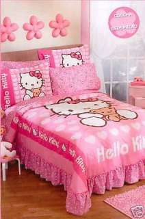 Girls Hello Kitty Love Pink Bedspread Bedding Set Full