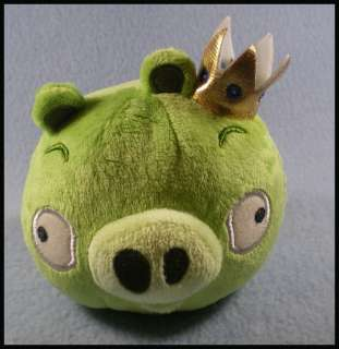Commonwealth Angry Birds Plush Toy 4 GREEN PIG w/CROWN New