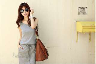 Korean Fashion Womens Hooded Long Maxi Tank Casual Sun Dress XS S