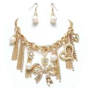 Statement Bib Necklace and Earrings Set Costume Fashion Jewelry
