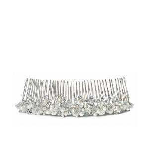 White Pearl & Crystal Flowers in Silver Hair Comb Beauty