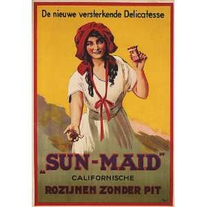 GERMANY ADV CALIFORNIA SUN MAID GIRL RAISIN LARGE VINTAGE POSTER REPRO