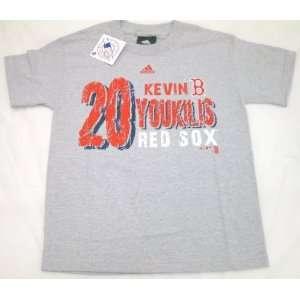 MLB Adidas Red Sox Kevin Youkilis Youth T Shirt XL Grey
