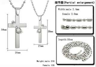 JN37 Stainless Steel Love Cross Ring Couple Necklace