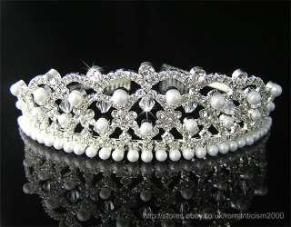 Wedding/Bridal crystal veil tiara crown headband CR123
