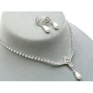 Bridal Jewelry Set Austrian Crystal Rhinestone Pearl Necklace Earrings