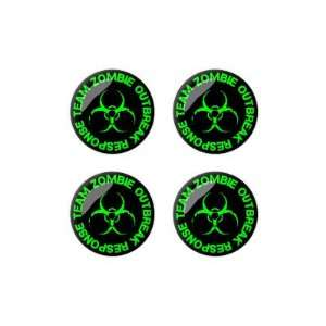 Zombie Outbreak Response Team Green   3D Domed Set of 4 Stickers