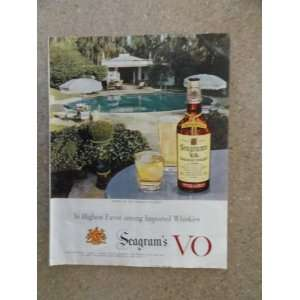 Seagrams V.O. Canadian whisky, Vintage 50s full page print ad (house