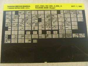 Yamaha RD350 RD250 R5 DS7 Original Service Manual Card