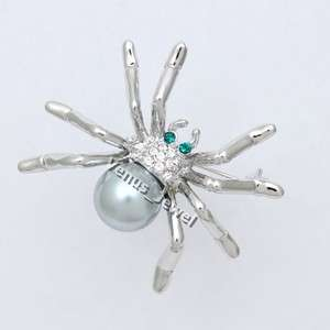 Gray Pearl Spider Rhinestone Crystal Brooch Pin VB720