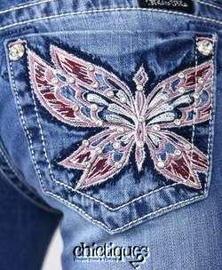 Jeans Capris Crimson Stitch Crystal Butterfly Crop Pant JP5451P2 Sz 28