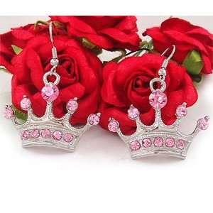 Pink Rhinestone Crown Tiara Dangle Earrings e382