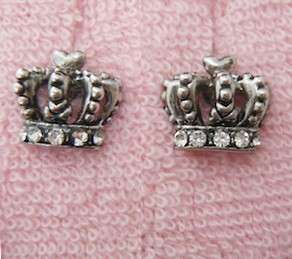 Auth Juicy Couture Pave Crown Stud Earrings Studs