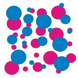 set of 106 Blue and Hot Pink polka dots Vinyl wall lettering