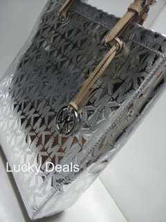 MICHAEL KORS MK logo monogram LAPTOP ITEM TOTE HANDBAG BAG metallic