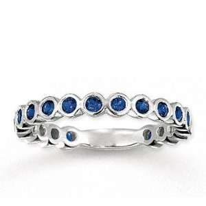 14k White Gold 3/4 Carat Blue Sapphire Bubbles Stackable Ring Jewelry
