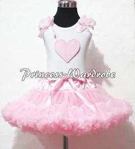 White Pettitop Top in Pink Ruffles Heart and Light Pink Pettiskirt
