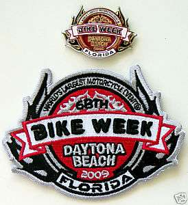 New 2009 Official Daytona Bike Week Cycle Patch & Pin