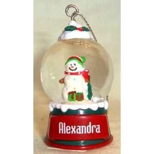 Alexandra Christmas Snowman Snow Globe Name Ornament