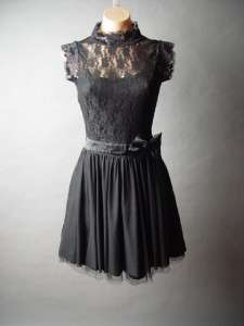 Romantic Victorian Vtg y Lace High Neck Satin Bow Skirt Party fp Dress
