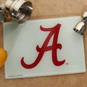 NCAA Alabama Crimson Tide Logo Glass Cutting Board: Sports