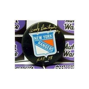 Andy Bathgate autographed New York Rangers Hockey Puck inscribed HOF