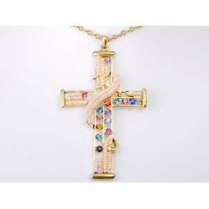 Multi Colored Crystal Rhinestone Swirl Beaded Holy Cross Holy Necklace