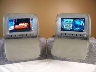 2x 9GREY Car Headrest DVD Player Monitor Cover Phones