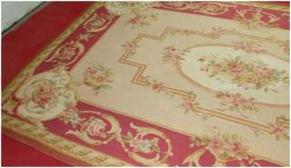 8X10 BEIGE CREAM IVORY AUBUSSON RUG PINK ROSE MEDALLION