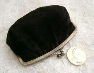 Antique Victorian Black Velvet Coin Purse ~ Silver Clasp ~ Floral Silk