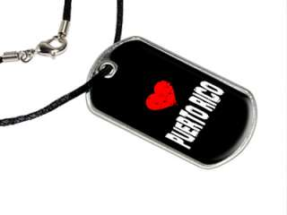 Puerto Rico Love   Military Dog Tag Black Satin Cord Necklace