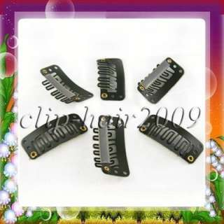30pcs Clips/snap for Hair extensions/weft hair 32mmX16MM #02 Brown